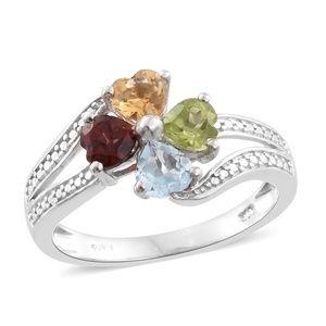 Multi Gemstone Platinum Bond Brass Flower Ring